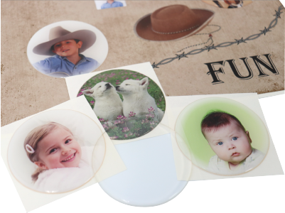 Clear DomeLabels on your printed photos to create your own custom dome images