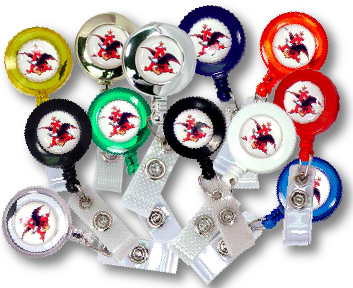 Custom Promotional Domed Labels applied to Badge Reels